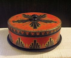 Small Orange and Black Art Deco Tin Cake Carrier by tinprincess, $32.50