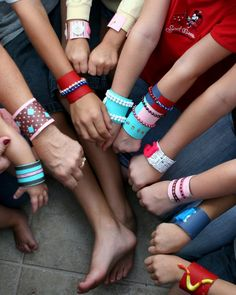 Cardboard Tube Bracelets (tp or paper towel tubes, paint, scrapbook paper, foam brushed, clothes pins, glue, misc decor: beads, buttons, ribbons, magnet letters, little toys, etc.)