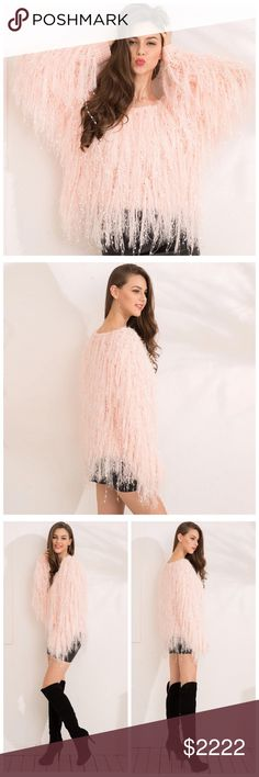 ‼️COMING SOON Blush Pink Furry Fringe Sweater D17 Black V Neck Cold Shoulder Sequin Stretch Blouse Top Sweaters