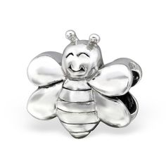 925 Sterling Silver Smiling Bumble Bee Happy Flying Bracelet Charm Bead Gift #QueenofSilver #European