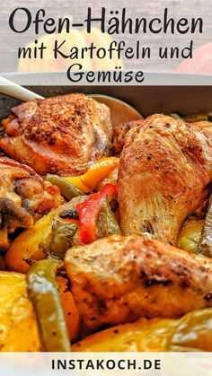 Oven Fried Chicken, Chicken Potatoes, One Pot Dishes, Fries In The Oven, Pot Roast, Chicken Wings, Turkey, Tasty, Meals