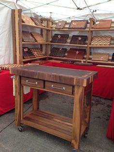 Beautiful Black Walnut End Grain Butcher Block Kitchen Cart With Tigerwood…
