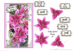Lily Decoupage Topper on Craftsuprint designed by Crafty Spaniel Designs  By Jane Butler - A beautiful bouquet of stargazer lillies. A stunning feminine design. - Now available for download!