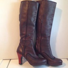 "Anthropologie Farylrobin Brown Tall Boots, EUC Excellent Used Condition. Size 7. Heel is 3"" high. Side zip. Round toe with brown piping. Anthropologie Shoes Heeled Boots"