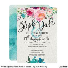 Wedding Invitation Peonies Steph and Dale
