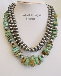 Schaef Designs large chunky Campo Frio turquoise & sterling silver Southwestern necklace | great for Schaef Designs, Rocki Gorman, Gary G, Dan Dodson pendants | upscale online Native American Southwestern Equine Jewelry gallery boutique | Schaef Designs artisan hand-crafted jewelry | New Mexico