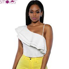 Woman Sexy White One Shoulder Ruffled Crop Top Strechable Scuba Blouse Blusa S-L Size Plus 2016 New