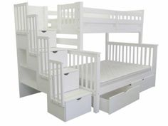 Bedz King Stairway Bunk Bed Twin over Full in White with 2 Under Bed Drawers $949 at Bunk Bed King | FREE SHIPPING Nationwide to your Home.