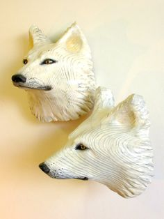 Pensive Wolf Mask by Jason Tennant by jasontennant on Etsy, $775.00 [Maude Gloria:  many of us live with wolf relatives and appreciate their intelligence and emotions. Visit this artist's shop on etsy and you will be even more aware of fellow creatures.]