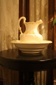 Vintage Wash Basin Water Pitcher Cream Yellow by RomantiqueTouch, $52.00