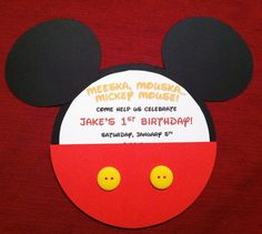 Mickey Mouse 1st Birthday Invite, Cricut, Mickey and Friends