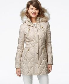 Betsey Johnson Faux-Fur-Hood Quilted Puffer Coat - Coats - Women - Macy's