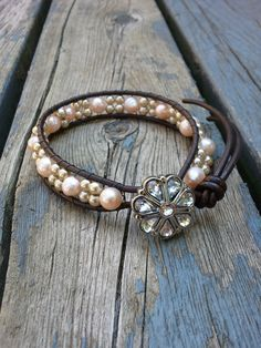 Halo- Pearl and Leather Bracelet via Etsy.