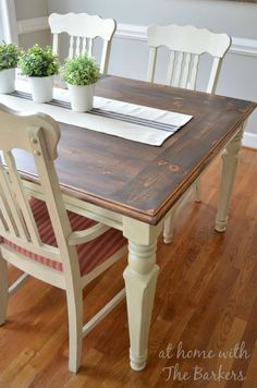 DIY Farmhouse Table Makeover - Great two tone finish and combination!