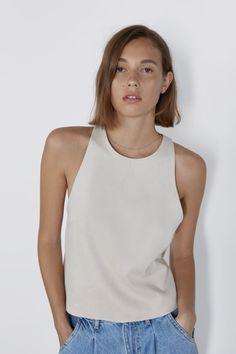 Tops-T-SHIRTS-WOMAN | ZARA United Kingdom Halter Tops, Polka Dot Crop Tops, Zara, Suede Coat, Bow Tops, Colorful Shirts, T Shirts For Women, United Kingdom, Woman
