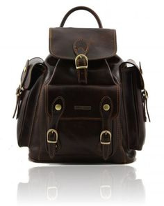 Leather Backpack Dark Brown
