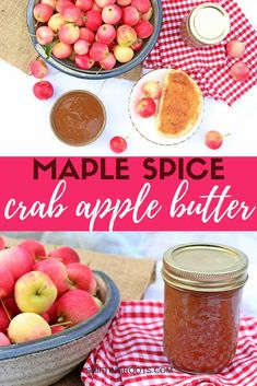 Have an overabundance of crab apples? You need to try this maple spice crab apple butter recipe. It's a delicious apple sauce that's delicious on toast, pancakes, and in yogurt. Add it to your canning list ASAP! Crab Apple Recipes, Jelly Recipes, Jam Recipes, Best Dessert Recipes, Canning Recipes, Fruit Recipes, Fun Desserts, Appetizer Recipes, Canning Tips