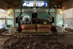 Steampunk School bus RV Victorian Bedroom - LOVE THIS SO MUCH  I so can't wait to retire and travel full time in an rv conversion similar to this...in my dreams.