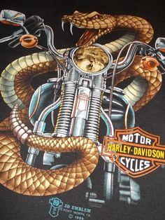 vtg 89 HARLEY DAVIDSON 3d Emblem motorcycle eagle PAPER THIN 80s cycle shirt