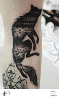 Mico Goldobin Tattoo - Wolf Silhouette tattrx.com/artists/mico-goldobin