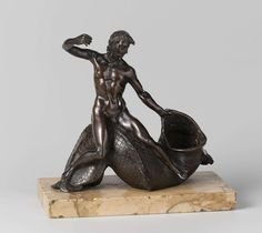 'Salt cellar or inkwell with a youth on a sea monster'.  Attributed to Taddeo Landini  (c. 1561 – March 13, 1596). c. 1590. Bronze, h 21.1 cm × w 22.5 cm × d 11.4 cm. -Rijksmuseum Amsterdam-