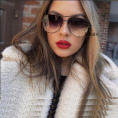 New Brand Designer Fashion Sunglasses Women's Oversized Pilot Sun glasses For Women Luxury Shades 2019 New Lunettes Femme Black Aviator Sunglasses, Black Aviators, Cheap Sunglasses, Luxury Sunglasses, Uv400 Sunglasses, Transparent Sunglasses, Womens Glasses, Trends, Lady