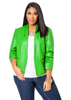 11863af3e6e Ashley Stewart HiLo Pleather Open Jacket Details http   www.ashleystewart .com