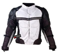 PRO LEATHER & MESH MOTORCYCLE WATERPROOF JACKET WHITE WITH EXTERNAL ARMOR S Jackets 4 Bikes