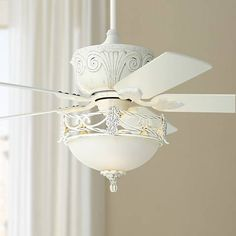 The Casa Deville™ ceiling fan comes loaded with charm in a distressed antique white rubbed finish and bowl glass coordinating light kit. Five white finish blades. Style # at Lamps Plus. Ceiling Fan Chandelier, Bronze Ceiling Fan, White Ceiling Fan, Ceiling Lights, Chandeliers, Decorative Ceiling Fans, Ceiling Fan Makeover, Best Ceiling Fans, Fan Lamp