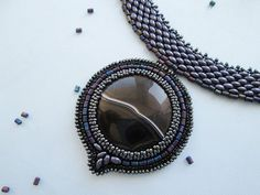 """Gemstone Beaded statement necklace with agate twin beading embroidery """"Twilight"""" black gray blue for girls for women."""