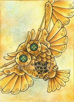 Original ACEO - Steampunk Mechanical Owl - Mixed Media Fantasy Illustration - Free Shipping to US - by Mitzi Sato-Wiuff