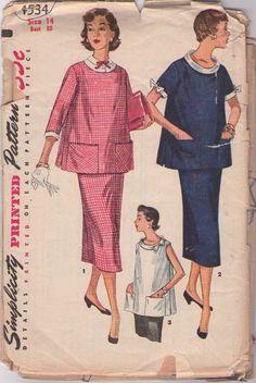 MOMSPatterns Vintage Sewing Patterns - Simplicity 4534 Vintage 50's Sewing Pattern DIVINE Lucy Scoop Neck Maternity Flared Smock Top, Large Pockets, Long Modest Skirt, 2 Piece Suit Dress