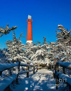 Winter Snow At Barnegat Lighthouse New Jersey