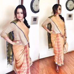 Singer Sona Mohapatra  shows us how to rock a printed handloom sari. Rendering a quirky, edgy touch to her look, she teams it up with a pair of ankle-length leather boots, a nose ring and a golden hathphool.She Wears Handloom. Do you? GiftPiper.com- committed to the cause of Indian weaves and crafts.