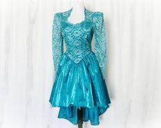 Vintage High Low Formal Dress M Teal Sheer Lace at PopFizzVintage, $48.00