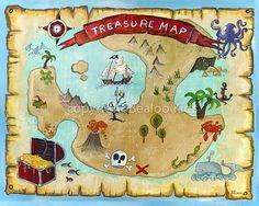 Pirate Art 8x10 Pirate Treasure Map Print by bealoo on Etsy, $15.00