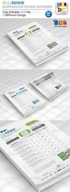 Proffesional Invoice Template 03 Cleanses, Stationery and Colors - invoice template editable