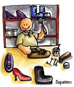 """schoenmaker praatplaat Nadien in de bouwhoek met enkele schoenen en """"product"""""""