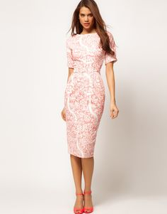 ASOS | ASOS Pencil Dress In Wiggle Shape In Wallpaper Print at ASOS