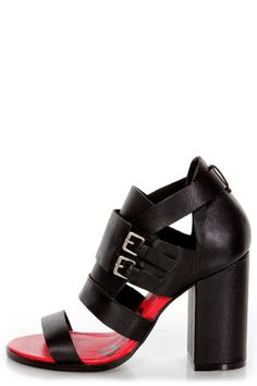 Kelsi Dagger Gina Black Vachetta Belted Cutout Strappy Sandals