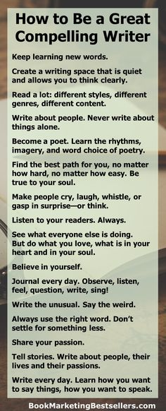Creative Writing 713187290971837532 - If you'd like to be the kind of writer readers love to read, the kind of writer readers come back to again and again, then learn these 16 rules on how to be a great compelling writer. Source by edouthe Writing Promps, Book Writing Tips, Writing Words, Writing Quotes, Fiction Writing, Writing Resources, Writing Help, English Writing Skills, Story Writing Ideas