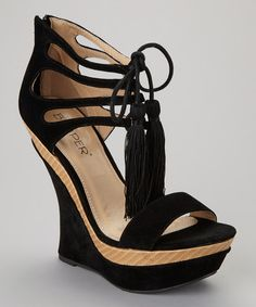 Strappy Black and Tan Wedge