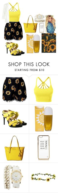 """A Pop of Yellow"" by destinyholder on Polyvore featuring LE3NO, Reed Krakoff, Elizabeth Arden, MICHAEL Michael Kors, River Island, Charlotte Russe, Aéropostale and New Look"