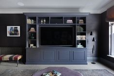 Bespoke joinery media unit for a cosy family room Living Room Built In Units, Built In Tv Wall Unit, Living Room Tv Unit Designs, Living Room Entertainment Center, Living Room Storage, Home Living Room, Media Wall Unit, Family Room Walls, Decoration