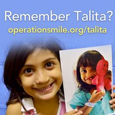 You may already be familiar with Talita, the little girl who stole the hearts of now more than 3 million people as they watched her see her new smile for the very first time.  But Talita's journey is not over. Our work is not complete. With the help of generous supporters like you, her smile was repaired. But we also had to repair her palate and help correct her speech. Watch her story unfold: http://www.operationsmile.org/talita