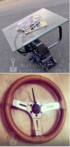 Engine Block Table and Steering Wheel Clock
