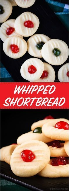 Whipped Shortbread Recipe These light and sweet whipped shortbread cookies, with a cherry on top, are so quick and easy to make. Plus a quick video! Galletas Cookies, Holiday Cookies, Holiday Treats, Holiday Recipes, Christmas Recipes, Christmas Shortbread Cookies, Spritz Cookies, Holiday Foods, Weight Watcher Desserts