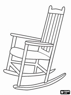 Wooden rocking chair or rocker with back bars coloring page