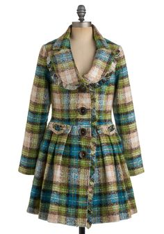 Fresh Aerial Coat by Nick & Mo - Tan / Cream, Plaid, Buttons, Pleats, Pockets, A-line, Long Sleeve, Winter, Long, Multi, Green, Blue