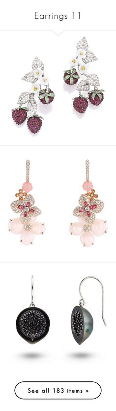 """Earrings 11"" by thesassystewart on Polyvore featuring jewelry, earrings, diamond earring jewelry, pink jewelry, diamond jewelry, rose gold jewelry, pink gold earrings, black diamond earrings, geode jewelry and 14k jewelry"